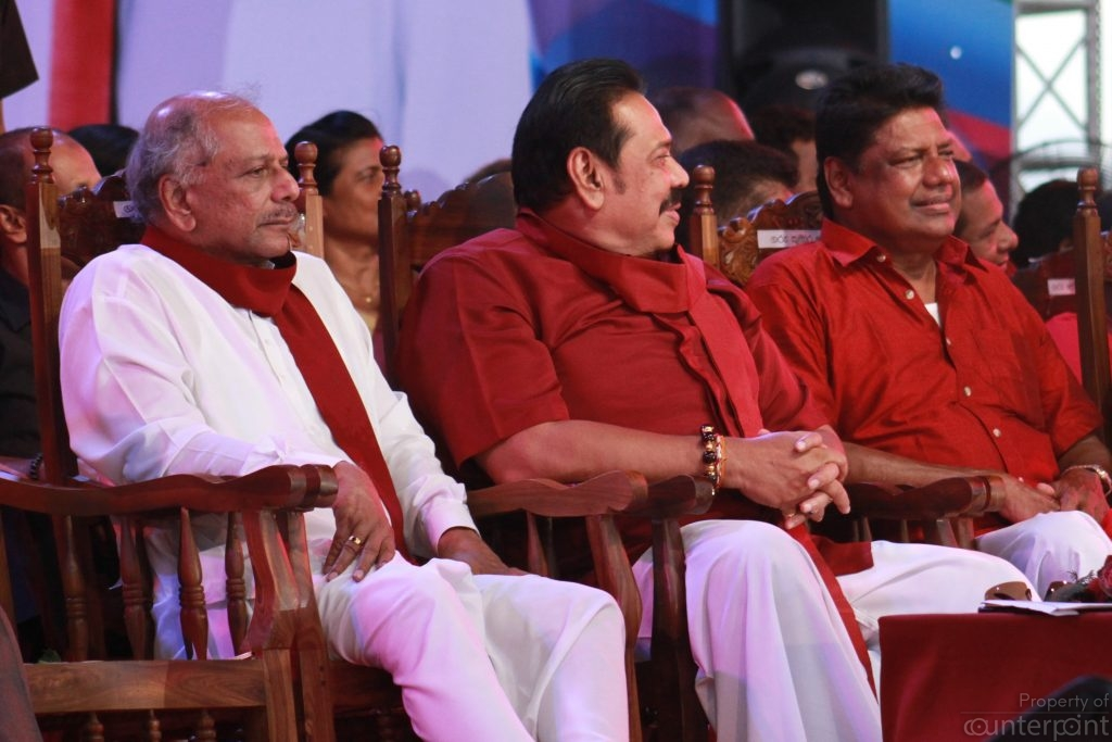 The leader of the Mahajana Eksath Peramuna (right) and Kumara Welgama(left), currently of the SLFP, seen here with SLPP Leader Mahinda Rajapaksa, too are being mentioned as possible candidates.