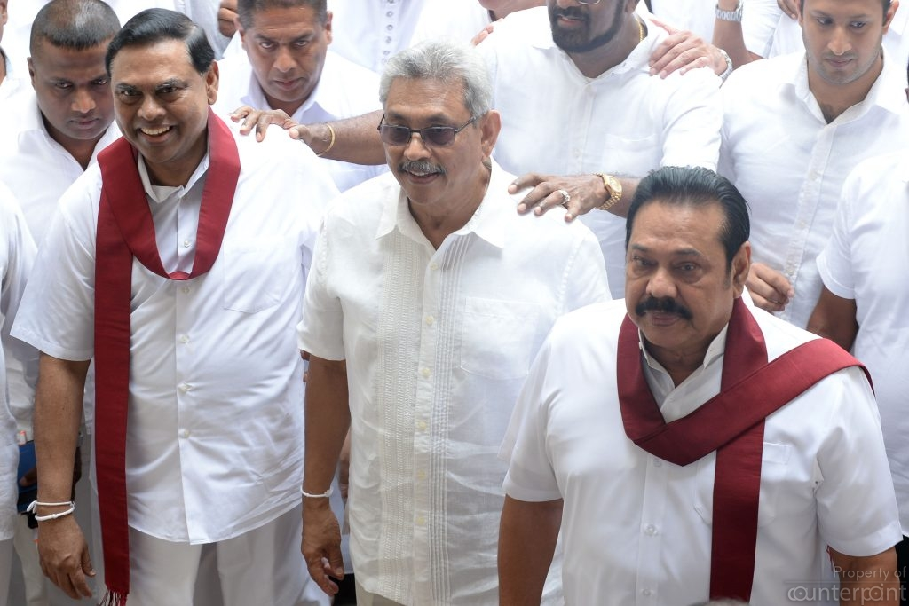 Gotabaya Rajapaksa (centre) seen here with brothers  Basil and Opposition Leader Mahinda Rajapaksa,  has begun his campaign as the SLPP's presidential candidate early.