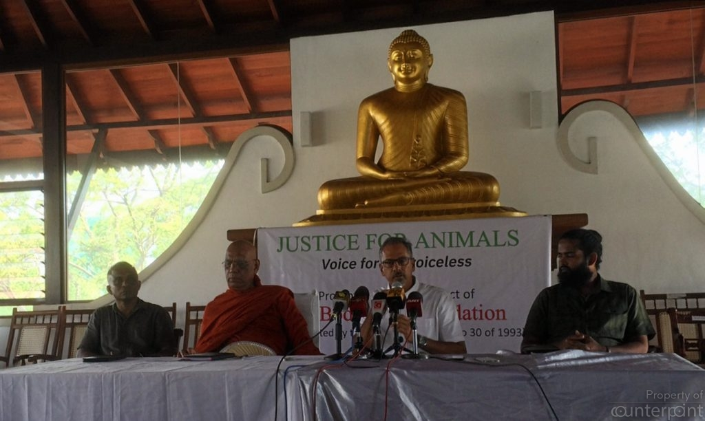 Ven. Dr. Omalpe Sobitha Thero,(centre) president, Sri Bodhiraja Foundation. With him are Sujeewa Jayasinghe (left), Rukshan Jayawardena (immediate right) and Sashi Kalana Ratwatte (far right), environmentalists addressing the media.