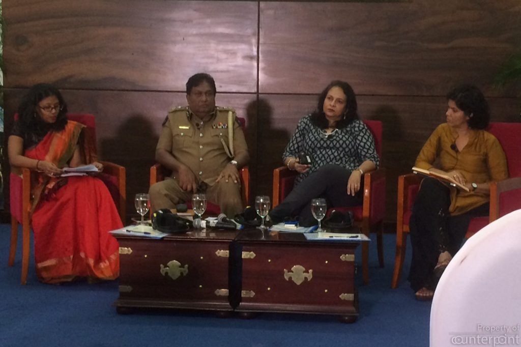Left to Right, Sashee de Mel, TISL and Moderator of the discussion, DIG Priyantha Jayakody, Shyamala Gomez and Shreen Saroor.