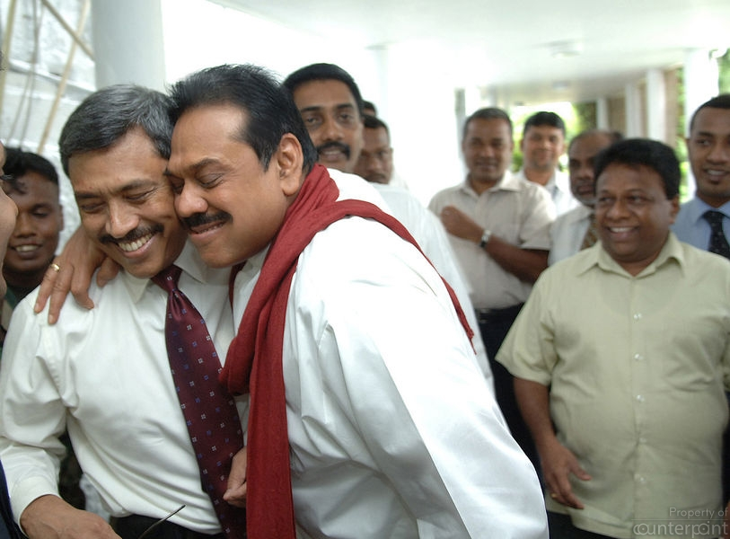 The then President Mahinda Rajapaksa hugging his brother, Gotabaya, moments after the Pittala Junction bomb blast in Dec. 2006.