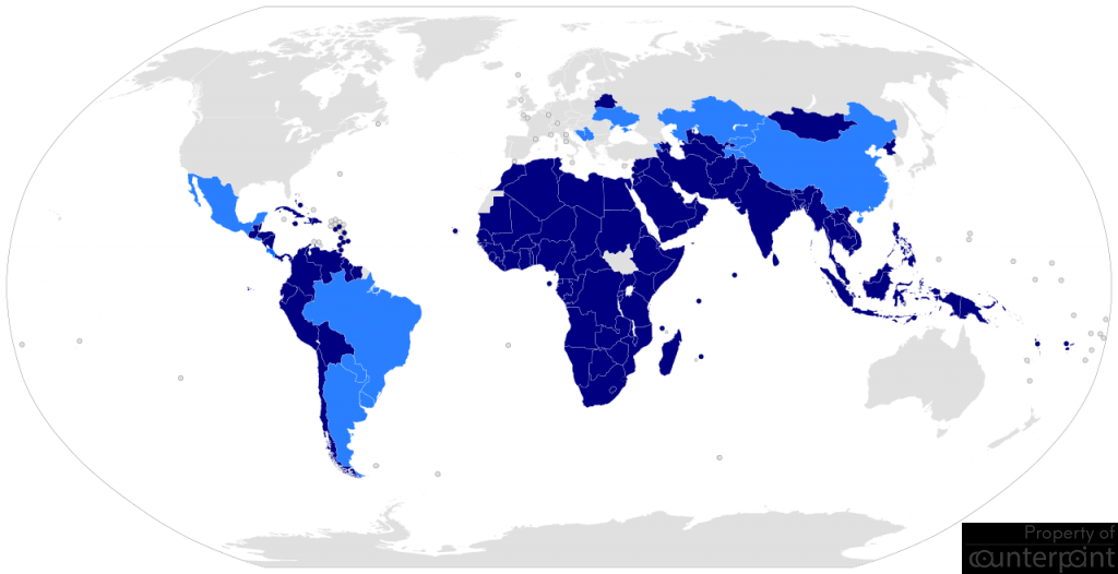 A 120 States ,not formally aligned with or against a major power bloc makes up the Non-Aligned Movement. (courtesy Ichwan Palongengi - https://mnoal.org/nam-members/, CC BY-SA 3.0, https://commons.wikimedia.org/w/index.php?curid=6128121)