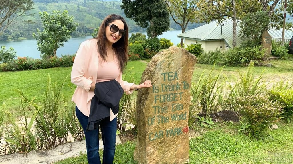 Madhuri Dixit at a tea plantation.