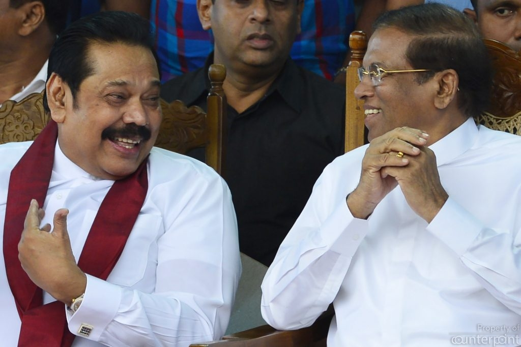 The current Prime Minister Mahinda Rajapaksa seen here with former President Sirisena, had no such qualms.