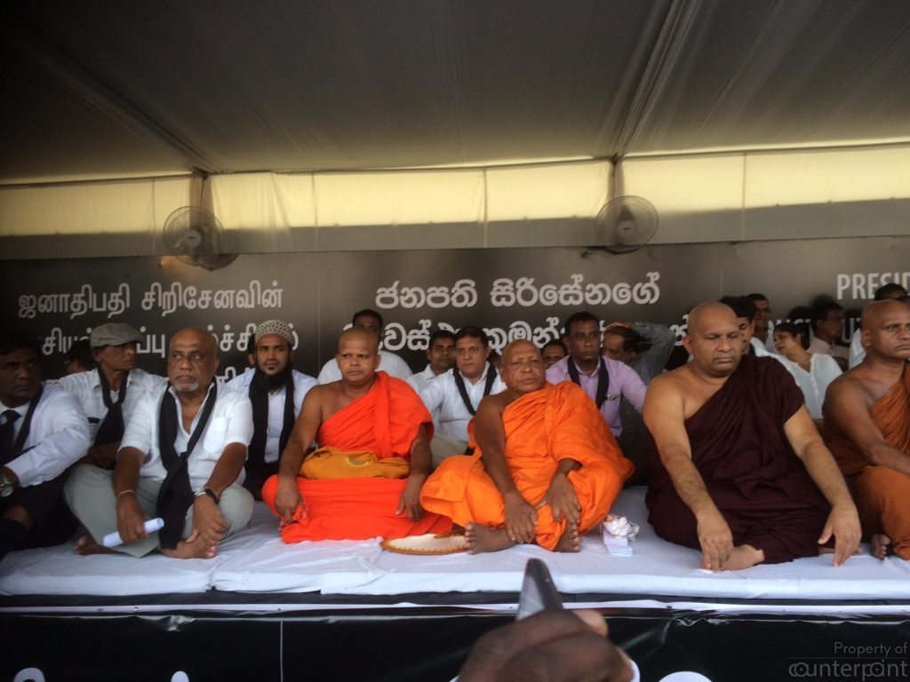 Dr. Dambara Amila Thero (in dark robe)along with other clergy and lay supporters began a Satyagraha against the October 2018 power grab.