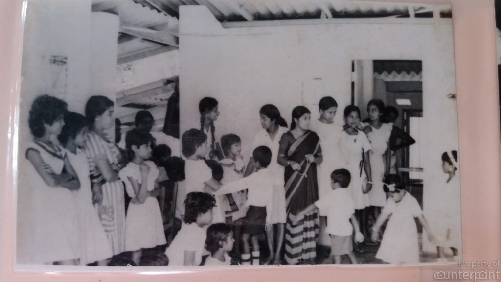 One of the first pre-schools established in 1983 in Kurunegala. Hemamali is seen standing just behind, to the left of the woman wearing a sari.