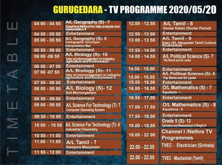 A time table for TV lessons. (Courtesy Ministry of Education).