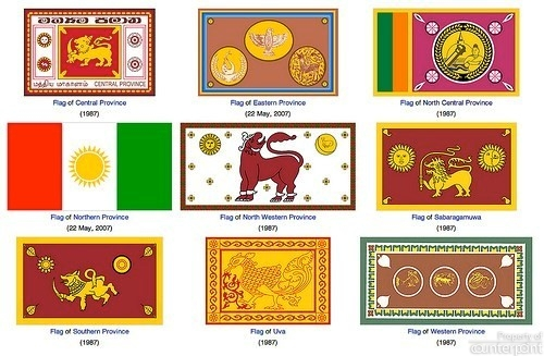 Flags of the Nine Provinces.  Most Provincial Councils were dissolved at least two years ago.(flags courtesy Wikepedia