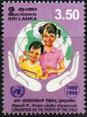 A stamp issued to mark the Convention of the Rights of the Child