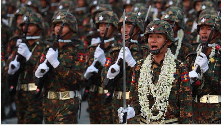 Myanmar army on parade