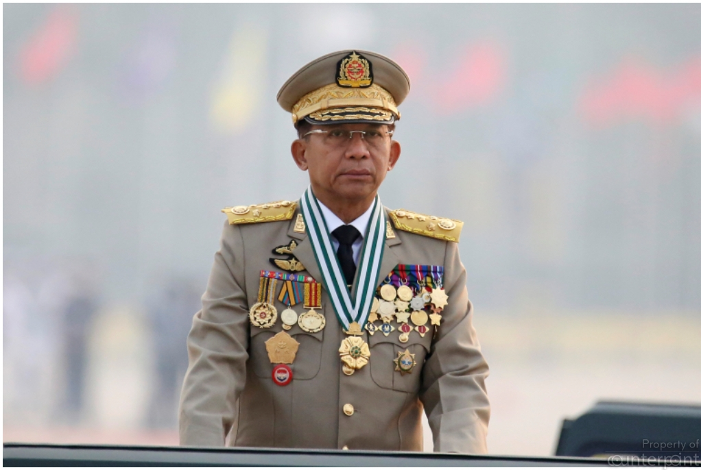 Commander-in-Chief Senior General Min Aung Hlaing presides an army parade on Armed Forces Day in Naypyitaw, Myanmar, Saturday, (Courtesy AP)