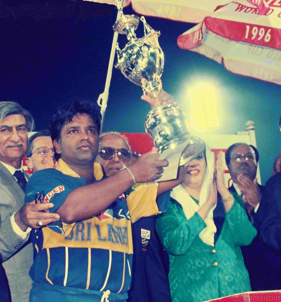 Arjuna Ranatunga, Captain of the winning 1996 Sri Lanka Cricket team, posing with the 1996 Cricket World Cup Trophy